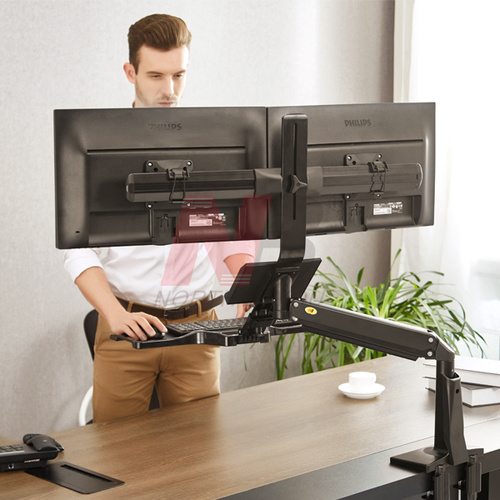 FC24-2A Sit Stand Dual Screen Mount Black
